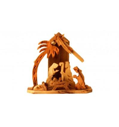 Crèche maison MF sculpté en bois d'olivier