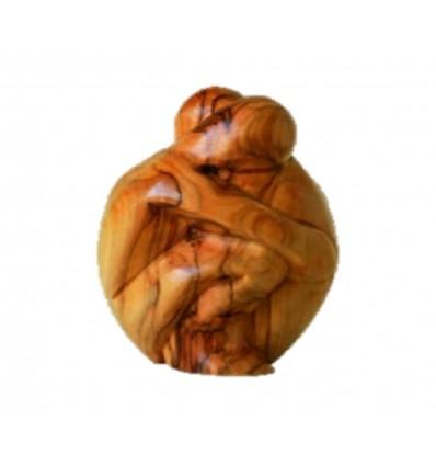Couple enlacé sculptée en bois d'olivier