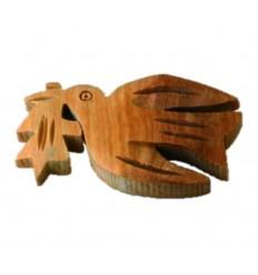 Broche colombe sculptée en bois d'olivier