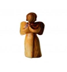 Ange en prière sculpté en bois d'olivier