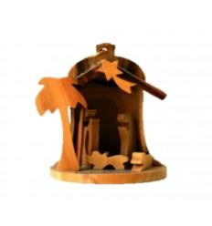 Crèche cloche sculptée en bois d'olivier