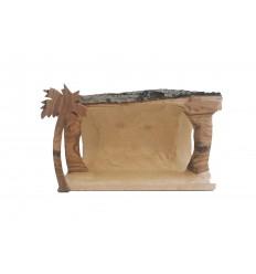 Crèche buche MF sculptée en bois d'olivier