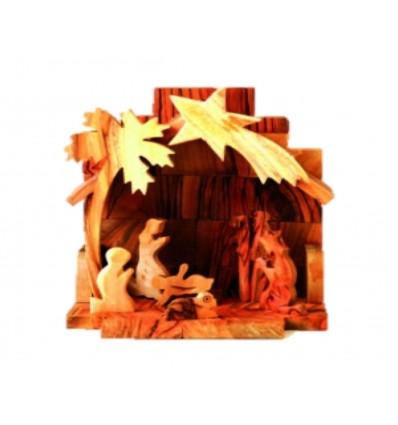 Crèche maison MF sculptée en bois d'olivier