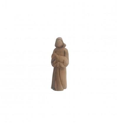 Berger + Agneau sculpté en bois d'olivier
