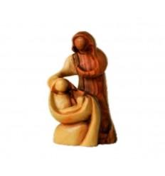 Sainte famille sculptée en bois d'olivier