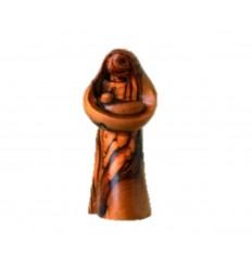 Femme avec un enfant sculpté en bois d'olivier