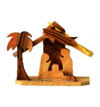 Crèche maison PF sculpté en bois d'olivier