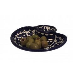Plat à olives deux compartiments