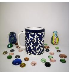 Mug grand format - Grandes fleurs bleues Suggestion de présentation